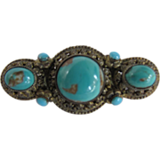 SOLD Antique Victorian Graduated Persian Turquoise Cabochons Filagree Bar Pin