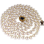 """SALE Vintage 18kt GP /6-6.5mm Very Fine Cultured Pearl 30"""" Necklace -with Certified ..."""