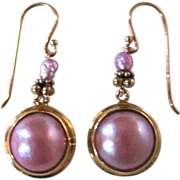 SALE Joie de La Mer Vermeil Cultured Enhanced Lavender Mabe & Freshwater Pearl Pierced ear