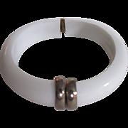 Mid Century Pop Art White Lucite Monet Bangle Cuff Bracelet