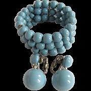 SALE Art Deco Celluloid Memory Wire Blue Bracelet & Matching Earrings