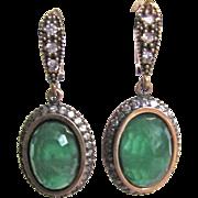 SALE Victorian Revival Vermeil Dyed Chalcedony & Faux Diamond Pierced Earrings Certified A