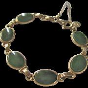 Mid Century 12kt 1/20th GF Nephrite Jade 15x12mm Cabochon Tennis Bracelet