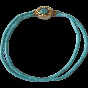 SALE Vintage 18kt GP Turquoise Rod Bead 2 strand Bracelet