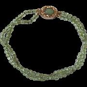 SALE Vintage 18kt GP Jade Cabochon Clasp and Precious 3mm Peridot 2 Strand Bracelet