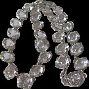SALE Art Deco Sparkling Rock Crystal Bezel Set Facetted Gem Necklace with Certified Appraisal