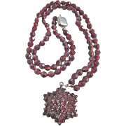 SALE Antique Victorian 7kt Gold Bohemian Garnet Necklace & Pendant with Certified Appraisal $1