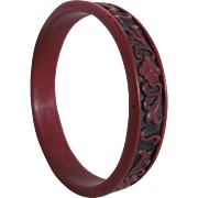 SALE ART Nouveau Galalith Wine/Burgundy HAND Carved and Blackened Bangle