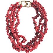 SALE Vintage Signed Kenneth Lane Enhanced Red Coral Nugget Multi strand Necklace with CERTIFIE