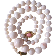 SALE Victorian 18kt GP Angel Skin to White Hand Carved Graduated Coral Necklace Certified Appr