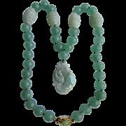 SALE Vintage 18kt GP Jadeite Pendant & Dyed Jadeite Beads with 4 Peking Glass Accent Beads Nec