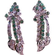 SALE Vintage Natural Emerald & Lab Created Synthetic White Sapphire Floral Drop Pierced Earrin