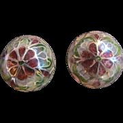 SALE Art Nouveau Style Plique a Jour Domed Stained Glass Pierced Earrings