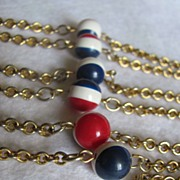 SALE Mid Century  Patriotic Red/White/Blue painted Bakelite Stations on heavy brass chain ...