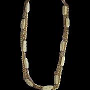 Vintage Signed Hobe Carved bone flapper necklace Demi Parure