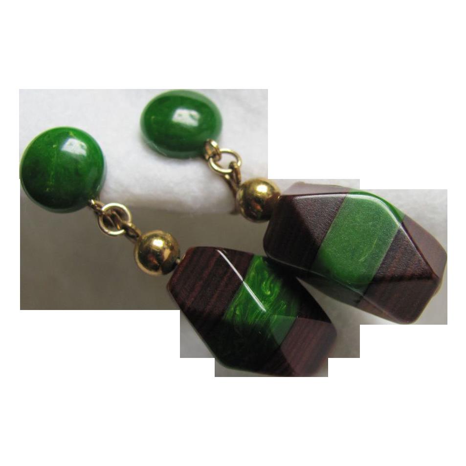 Art Deco Bakelite and Wood Dangling Earrings