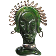 SALE Art Deco BOOK PIECE Green Bakelite Carved Lady's Face with silvertone accents