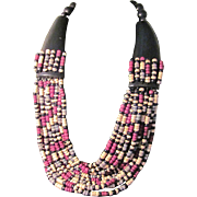SOLD Vintage MONIES Gerda Lynggaard  Wood Heishi beads Torsade set - Cascade of Color