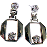 Mid Century  Silvertone & Rhinestone Pierced Earrings 2 FOR 1  offer