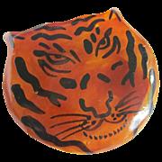 Art Deco Painted Tiger Bakelite  Brooch..Prrrrr For Prystal &  you cat lovers !