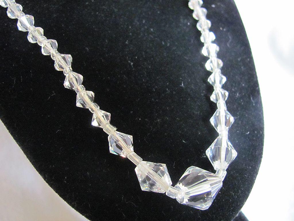 Art Deco Cut Rock Crystal Quartz Gorgeous !!! Graduated Necklace