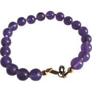 Art Deco RARE Prystal Lavender Bead Knotted Bracelet from British Estate