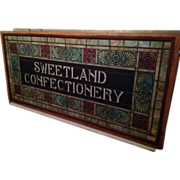 SWEETLAND CONFECTIONERY circa 1900 stained glass window