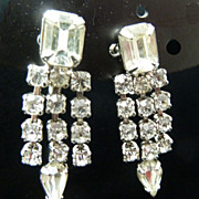 Weiss Dangling Clear Rhinestone Earrings, Circa 1950's