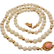 Vintage Angel Skin Coral, Cultured Pearl & Gold Filled Bead  Necklace - Vermeil Clasp