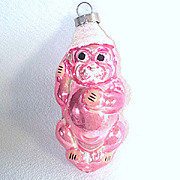 Pink Dog in Conical Hat Glass Christmas Ornament