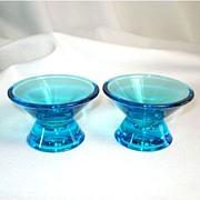 SALE Iittala Finland Art Glass Blue Candlesticks