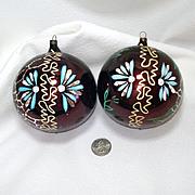 Jumbo German Flowered Glass Christmas Ornaments