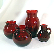3 Anchor Hocking Royal Ruby Glass Vases Plus Ruby Cruet
