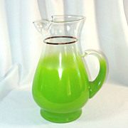 Blendo Lime Green Pitcher West Virginia Glass 2.5 Quart