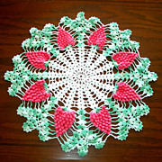 Crocheted Pink Grapes Vintage Doily 17 inches Round