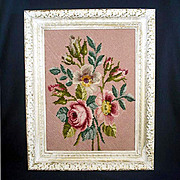 Floral Bouquet in Pinks Framed Needlepoint Picture 16 by 20