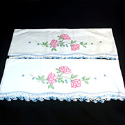 Pink Flowers Pair Embroidered Pillowcases with Crochet Lace Edging