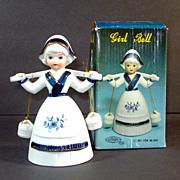 Artmark Porcelain Bisque Dutch Girl Bell Mint in Box