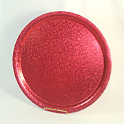 SOLD Retro Red 14 Inch Colored Aluminum Serving Tray