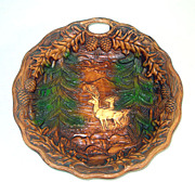 Carved Effect Wood Resin Deer in Forest Scenic Bowl