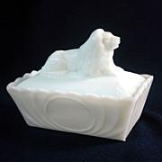Milk Glass Covered Lion Dish Rectangular Base