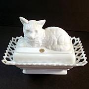 Westmoreland Milk Glass Covered Cat Dish Rectangular Lacy Base