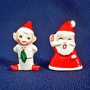Holt Howard Porcelain Santa and Elf Christmas Ornaments