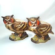 Pair Napco Great Horned Owl Ceramic Figural Planters