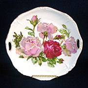 Handled Porcelain Plate With Shabby Pink, Red Roses