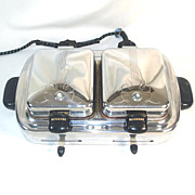 1930s Kenmore Chrome and Bakelite Twin Waffle Iron