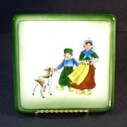 Ceramic Trivet Hand Painted Dutch Children With Goat