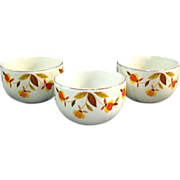 SOLD 3 Hall Autumn Leaf Custard Cup Dishes Bowls