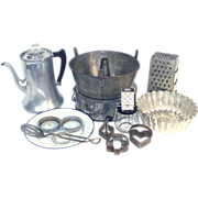 10 Item Antique Vintage Kitchen Lot Coffee Pot, Pans, Utensils