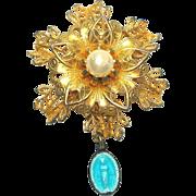 Goldtone Filigree Flower Virgin Mary Miraculous Medal Brooch Pin